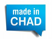 Made In Chad Blue 3D Realistic Speech Bubble Isolated On White Background
