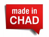 Made In Chad Red  3D Realistic Speech Bubble Isolated On White Background