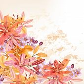 Flower Vector Background With Lily Flowers For Design