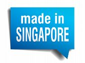 Made In Singapore Blue 3D Realistic Speech Bubble Isolated On White Background