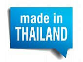 Made In Thailand Blue 3D Realistic Speech Bubble Isolated On White Background