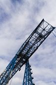 Large Blue Girders From Below, Tees Transporter Bridge, Middlesbrough, England, United Kingdom, Euro