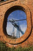 Large Blue Girders, Tees Transporter Bridge, Middlesbrough, England, United Kingdom, Europe. Framed