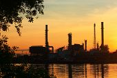 Oil Refinery With Sunrise, Thailand