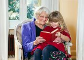 stock photo of babysitting  - Grandmother and Young Girl Reading together having fun - JPG