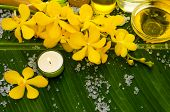 Spa set on banana leaf with pile of white salt