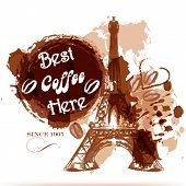 Grunge Coffee Poster With Eiffel Tower Painted By Coffee Stylized Watercolor