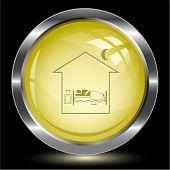 Home bedroom. Internet button. Vector illustration.