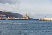 Gas and oil rig platform in the port of Tenerife