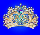 stock photo of crown jewels  - illustrations feminine decorative tiara crown with jewels - JPG