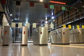 VALENCIA, SPAIN - JUNE 11, 2014: The Valencia Metro gate at the