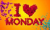 I love Monday Particles Heart Shape 3D orange background