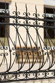 Detail Of Wrought Iron Railing With Beautiful Ornaments