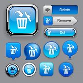 Dustbin blue design elements for website or app. Vector eps10.