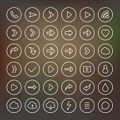 Vector illustration of thin arrow icons.