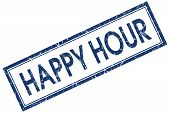 Happy Hour Blue Square Grungy Stamp Isolated On White Background