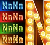Ultimate realistic lamp board alphabet. Condensed style. Left and right options. Multicolored. Letter n