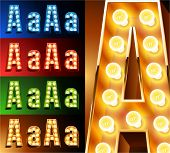 Ultimate realistic lamp board alphabet. Condensed style. Left and right options. Multicolored. Letter a