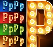 Ultimate realistic lamp board alphabet. Condensed style. Left and right options. Multicolored. Letter p