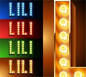 Ultimate realistic lamp board alphabet. Condensed style. Left and right options. Multicolored. Letter l