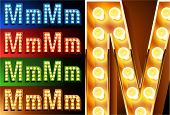 Ultimate realistic lamp board alphabet. Condensed style. Left and right options. Multicolored. Letter m