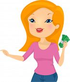 Illustration of a Girl Holding a Wad of Cash Pointing to the Right