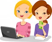 Illustration of Female Business Partners Sitting Side by Side in Front of a Computer