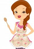 Illustration of a Girl Wearing a Shabby Chic Themed Apron Holding a Wooden Ladle