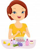 Illustration of a Girl Making Homemade Perfume