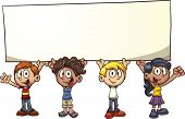 Cartoon kids holding a big sign. Vector clip art illustration with simple gradients. All in a single layer.