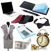 Collage of business stuff isolated on white