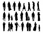 Big Set Of Indian People Silhouettes