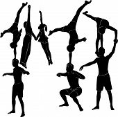Gymnasts acrobats representation people aerobics dance art