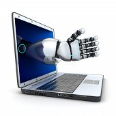 Laptop And The Robot Arm