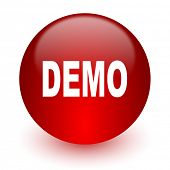 demo red computer icon on white background
