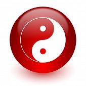 ying yang red computer icon on white background