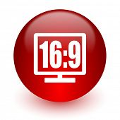 16 9 display red computer icon on white background