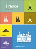 Landmarks of France. Set of flat color icons in Metro style. Raster image
