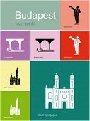 Landmarks of Budapest. Set of flat color icons in Metro style. Raster image