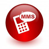 mms red computer icon on white background