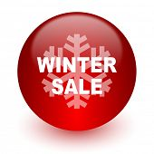 winter sale red computer icon on white background