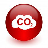 carbon dioxide red computer icon on white background