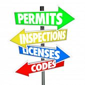 Permits, Inspections, Licenses Codes colorful arrow road signs pointing direction build home