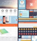 One Page Website Design Template with UI Elements kit, Flat Design Concept Icons and Blurred Smooth Backgrounds. Mobile Phones and Tablet PC Designs. Set of Forms and Buttons. Vector. poster