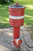 Red Fire Hydrant On  City Sidewalk