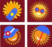 Set Of 4 Icons For Sun Protection