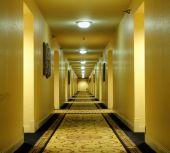 Long hallway of hotel