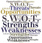 stock photo of swot analysis  - Word cloud illustration related to strategic marketing management SWOT analysis - JPG
