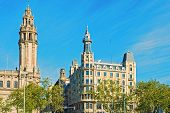Historic Buildings At Antonio Lopez Plaza In Barcelona, Spain