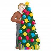 A Man Decorates A Christmas Tree